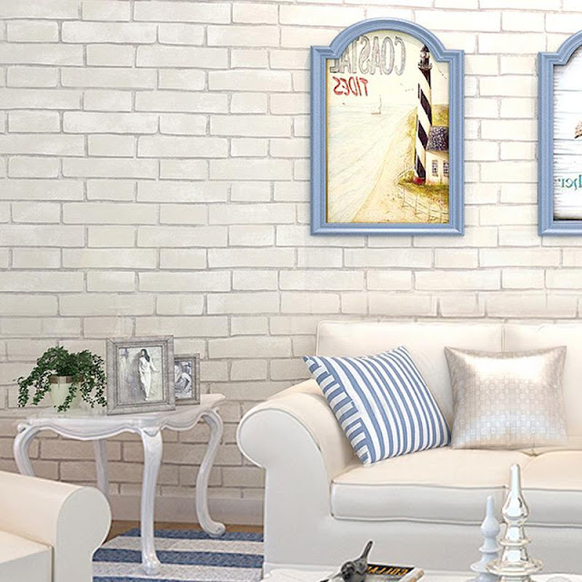 White Brick Wall Mural Wallpaper Living Room