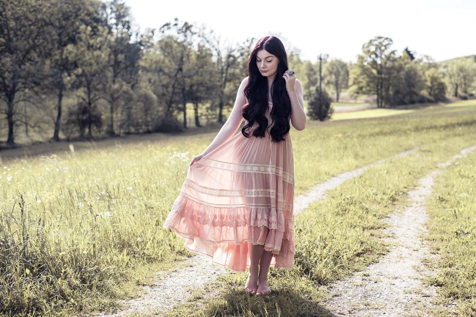 Spell Designs Prairie Lace Sun Dress | Rose Kiara Peaches