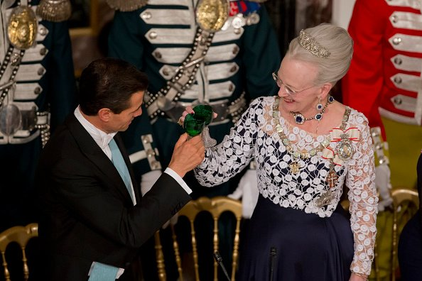President Enrique Pena Nieto and Queen Margrethe of Denmark attend a State Banquet at Fredensborg Palace