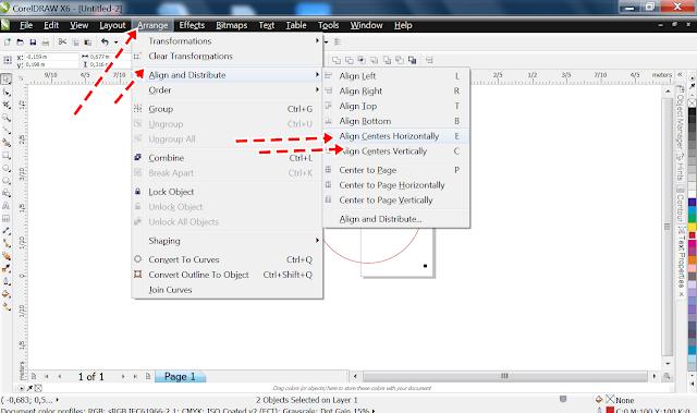 Clicar na aba Arrange> Align and Distribute> Align centers Horizontally;