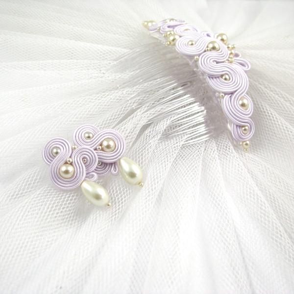 Perłowy komplet ślubny - kolczyki ślubne i elegancki grzebień.