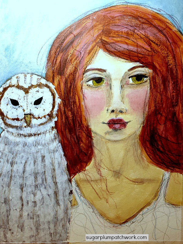 painting of girl and owl