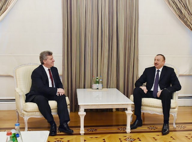 Treffen der aserbaidschanischen und mazedonischen Präsidenten