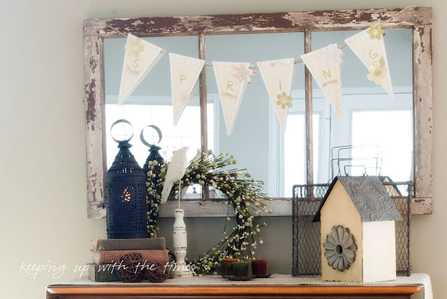spring, mantel, pendant, sign, wreath, lantern