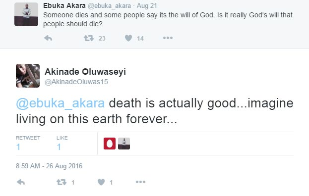 Death is actually good, according to this Twitter user