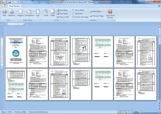 RPP PJOK Kelas 1 SD Kurikulum 2013 Revisi Terbaru 2019-2020