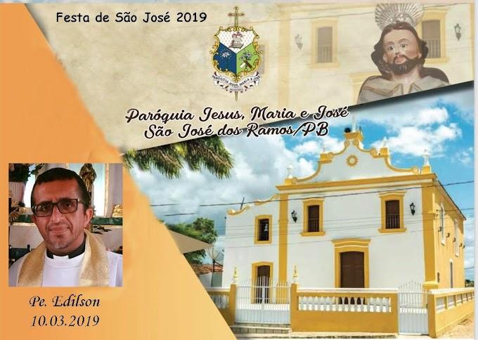 SÃO JOSÉ DOS RAMOS: Programação religiosa da festa da padroeiro de São José.
