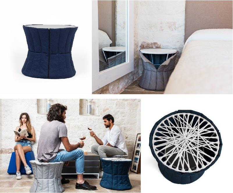 Panciotto pouf multiuso, comodino e tavolino di Arketicom Design