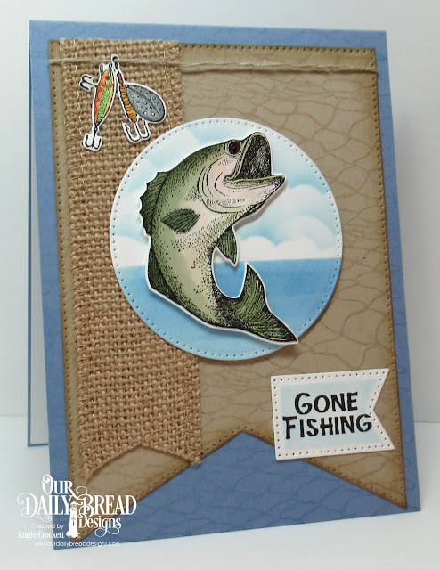ODBD Great Catch Stamp/Die Duos, ODBD Fishing Net Background, ODBD Custom Large Banners Dies, ODBD Custom Pierced Circles Dies, ODBD Custom Clouds and Raindrops Dies, Card Designer Angie Crockett