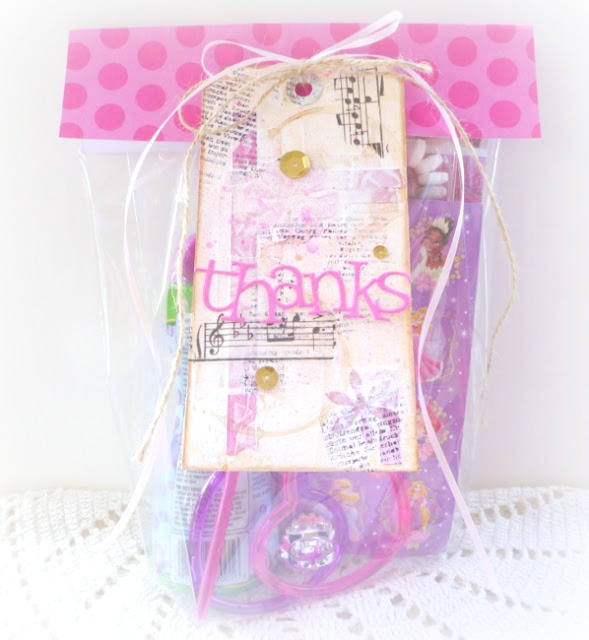 Mixed Media Pink Thank You Tag on Birthday Favor Bag
