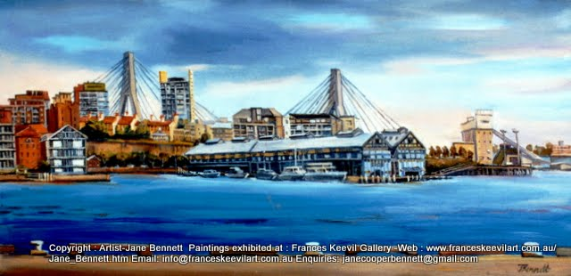 plein air oil painting of Pyrmont from Barangaroo by industrial heritage artist Jane Bennett