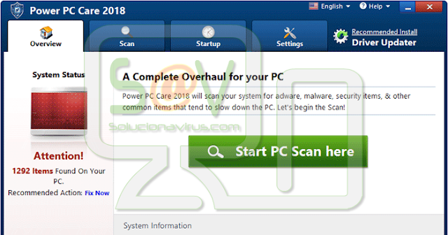 Power PC Care 2018 (Falso optimizador)