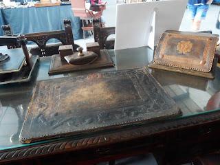 Juego de escritorio clásico en cuero desembalaje de Arriondas #antiguedades