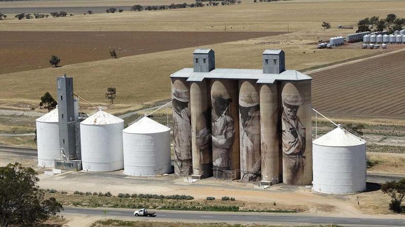 Los silos de grano cubiertas de gigantescos murales | Australia
