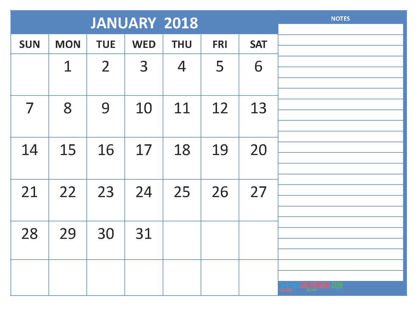 January 2018 Printable Calendar   Blank Templates - Get ...