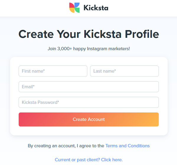 Sign Up for Kicksta