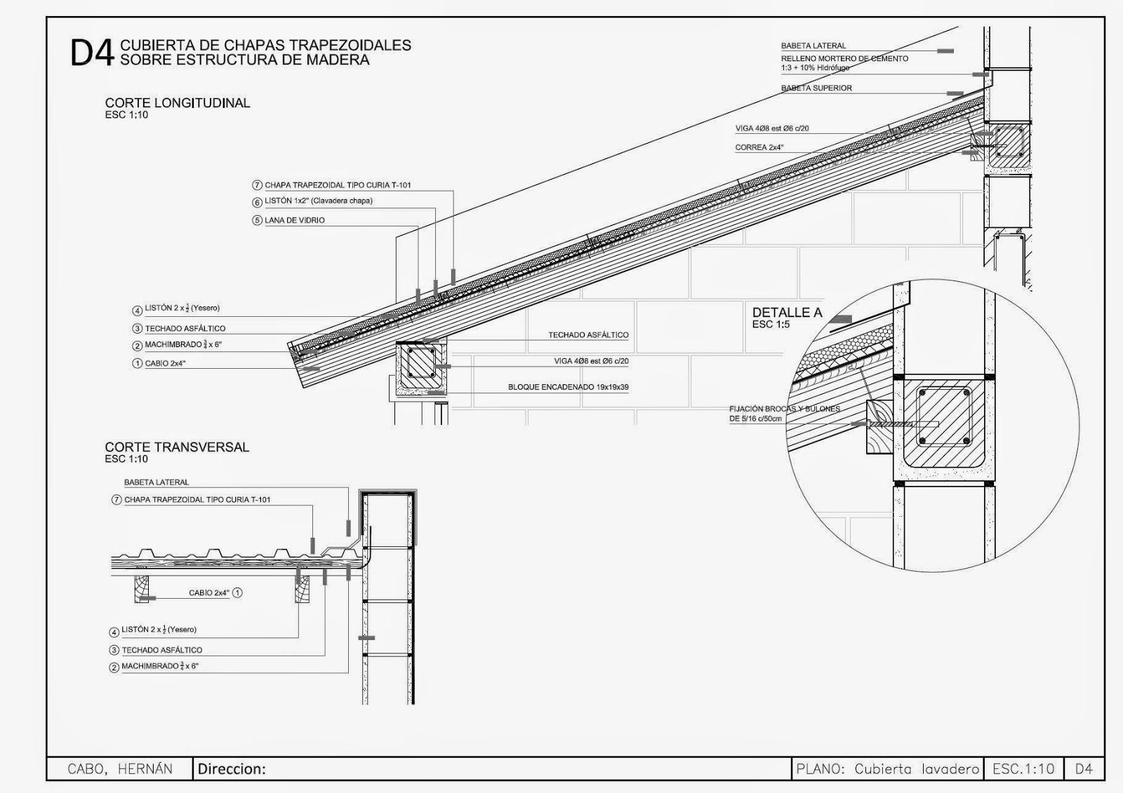 Detalles constructivos cad detalle cubierta met lica con estructura de madera - Detalle constructivo techo ...