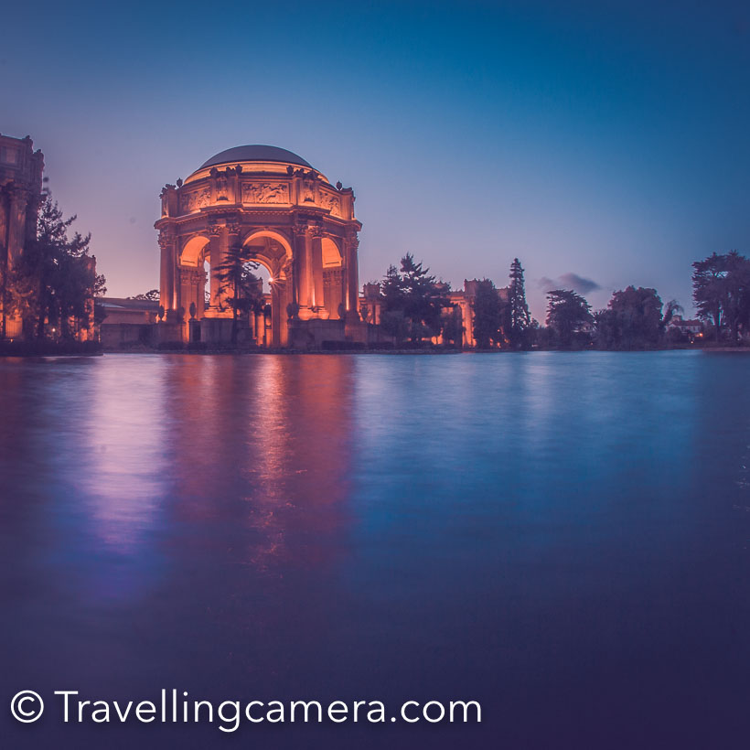 Above photograph shows Palace of Fine Arts and it looks brilliant in night. It's near Golden Gate Bridge and you can take the bus from other part of Golden Gate Bridge and get down near this beautiful building. It's usually visible from the road, so you clearly gets an idea where you have to get down. There is nice walking area around the water body. Lot of folks from neighborhood come here during early morning and evening for walk.