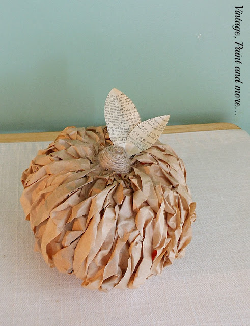 Vintage, Paint and more... a decorative pumpkin made by gluing twisted strips of brown lunch bags on a craft pumpkin then wrapping the stem with twine and adding paper leaves