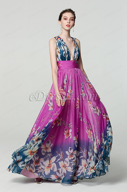 purple v cut print floral party dress