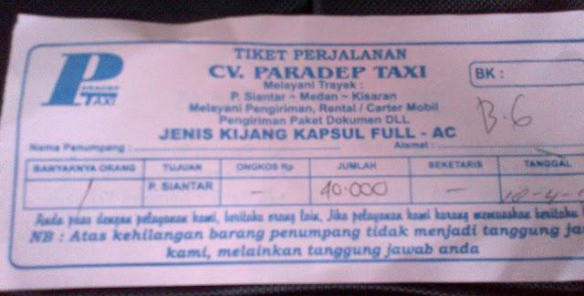 Tiket Paradep Taksi yang Asal-asalan
