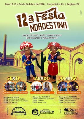 12ª Festa Nordestina de Registro-SP começa na sexta, 12/10