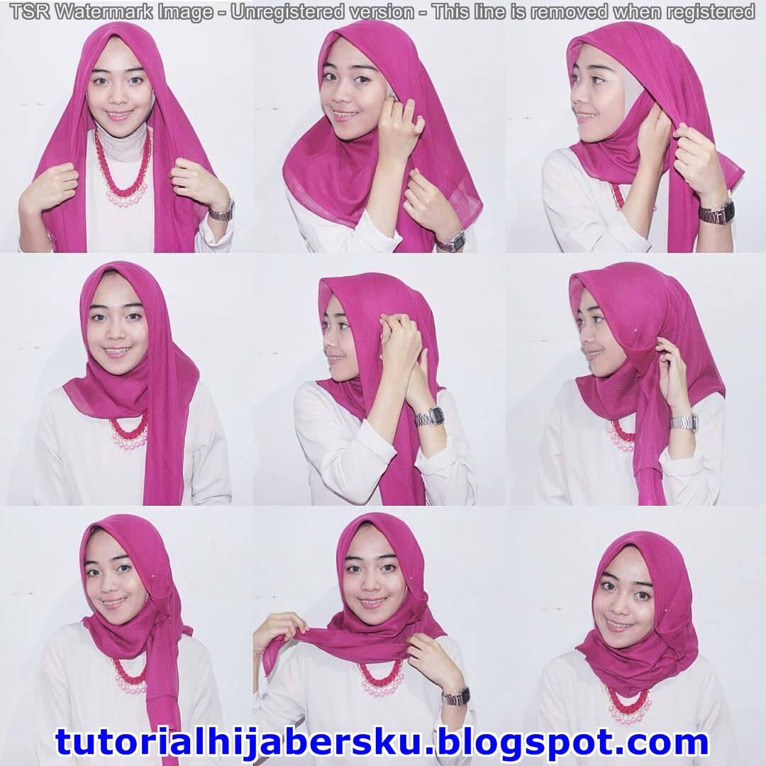 16 Tutorial Hijab Segi Empat Disatukan Dengan Pasmina Tutorial