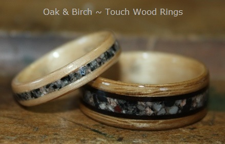 Birch and Oak Wood Rings with stone inlays