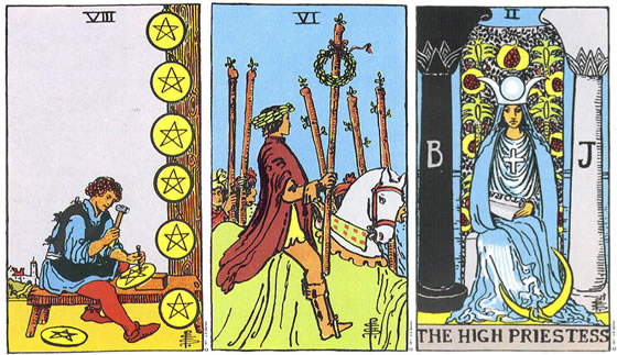 Rider Tarot Deck - 8 Pentacles/Coins, 6 Wands, The High Priestess