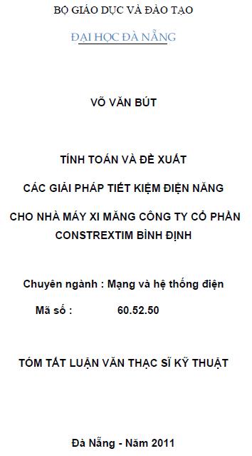 Tính toán và đề xuất các giải pháp tiết kiệm điện năng cho nhà máy xi măng công ty cổ phần Contrextim Bình Định