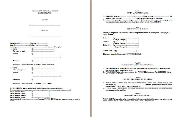 Contoh Surat Perjanjian Jual Beli Tanah Dan Bangunan Lengkap