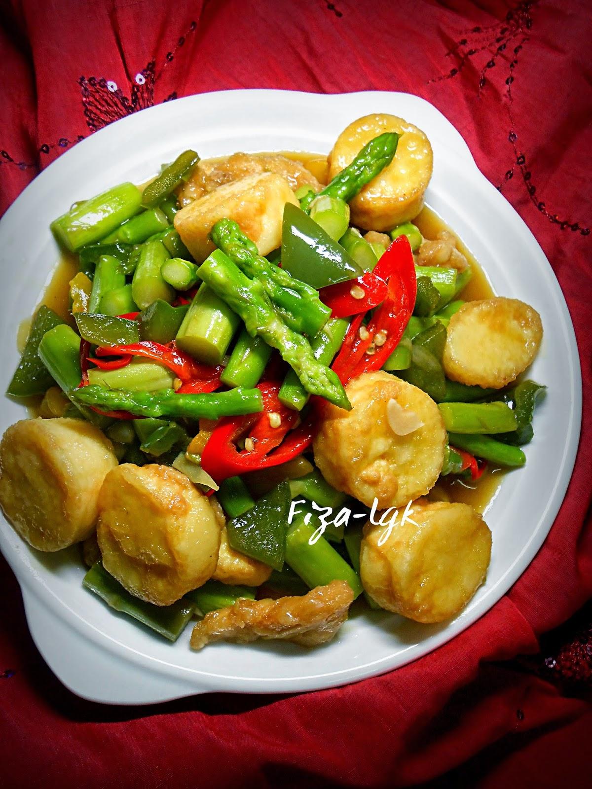 tumis asparagus  tofu telur fizas cooking Resepi Nasi Jagung Enak dan Mudah