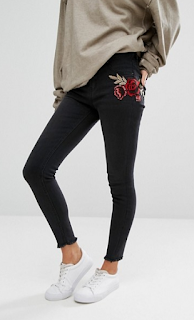 asos embroidered denim skinny jeans