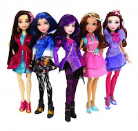 Descendants dolls similar design to Ever After High, but with more Disney style faces