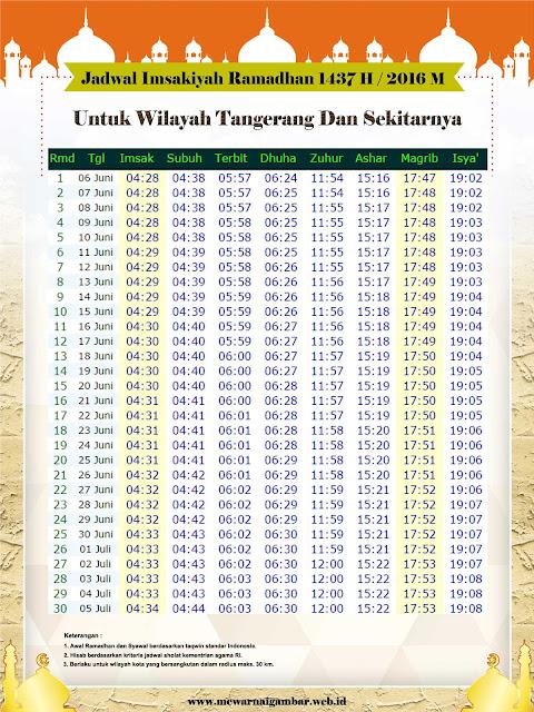 Jadwal Imsakiyah Tangerang Ramadhan 1437 H - 2016 M