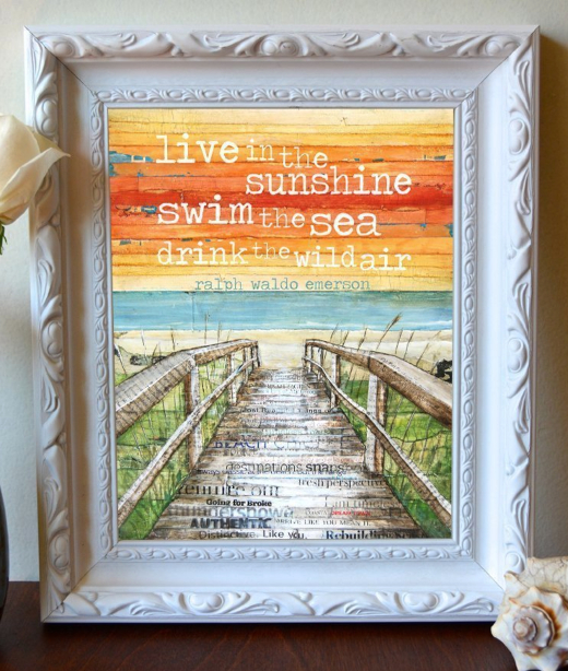 Beach Quote Art Emerson Live in the Sunshine
