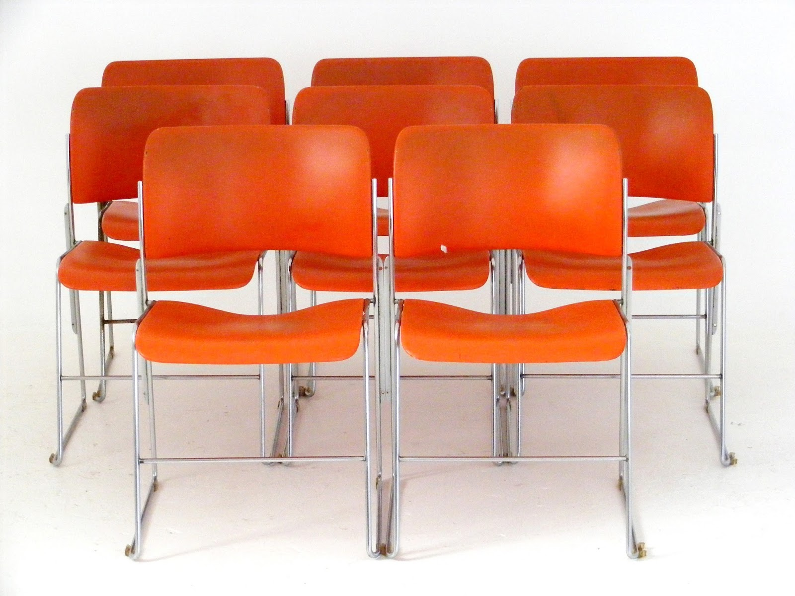 David Rowland Metal Chair Doc Mcstuffin Toys R Us Vamp Furniture New Vintage Stock Just Unpacked At 8 Original Orange Gf 40 4 Stackable Chairs Designed In 1964 By For Business Ohio