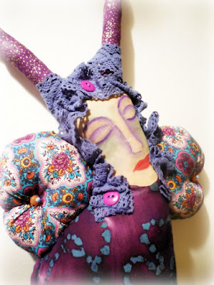 Purple Dreaming Butterfly Batik and  Muslin Whimsy Women Spirit Doll