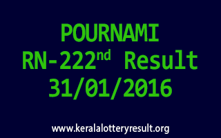 POURNAMI RN 222 Lottery Result 31-1-2016