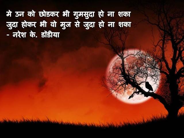 मे उन को छोडकर भी गुमसुदा हो ना शका Sher By Naresh K. Dodia