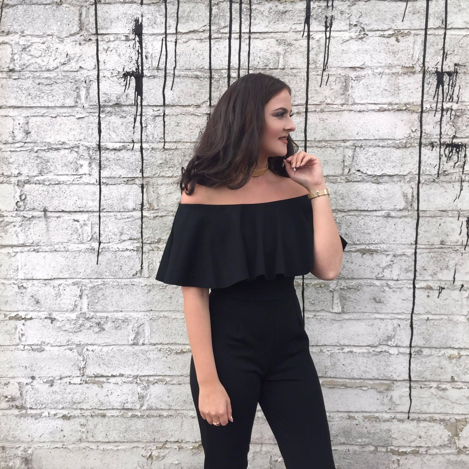 Off the shoulder black jumpsuit - Quiz Clothing