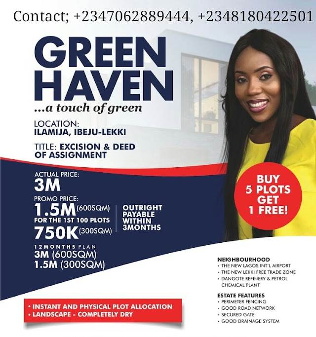 AMAZING GREEN HAVEN, ILAMIJA, IBEJU LEKKI, LAGOS (LAND FOR SALE)
