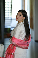 Mannara Chopra in Silky White Salwar Suit with Pink Chunni Latest Exclusive Pics March 2017 ~  057.JPG