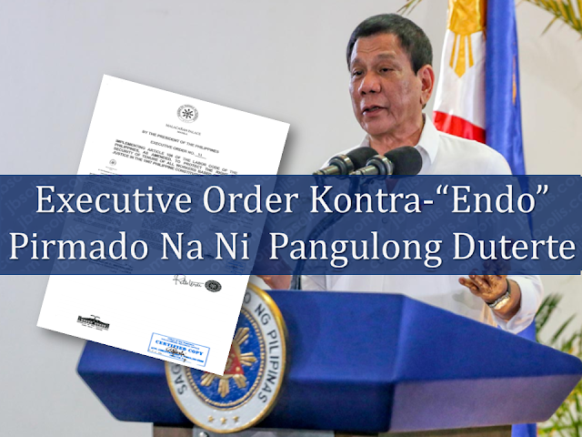 "As one of his campaign promises, President Rodrigo Duterte signed an executive order seeking to stop contractualization among local workers. The president said that the EO prohibits ""illegal contracting or subcontracting or undertaking to circumvent the workers' right to security of tenure.""  Endo system deprives the locally hired workers of benefits that regular employees enjoy as the work contract usually lasts for only five months or less, there will be no end of service benefits even if you renew the said contract over and over again for ten years with the same company.   ""I remain firm in my commitment to put an end to 'endo' and illegal contractualization,"" the president said.  Advertisement         Sponsored Links           President Rodrigo Duterte has signed a landmark executive order (EO) that puts an end to illegal contractualization in the Philippines.  Duterte inked the EO on May 1, and made the announcement during a speech in a Labor Day celebration in Cebu.    Duterte also expressed confidence that the EO will ease laborers' worries regarding the lack of security of tenure.  The president also said that the government will continue to provide ""dignified and meaningful employment"", however, he said that the newly signed executive order is not enough to ensure the security of tenure.  ""I can only implement but if there are things that need to be corrected, modified to suit the needs or the demand of time… We have to amend or correct or recommend revision or revisit the laws,"" Duterte said.  The Palace has yet to release a copy of the EO.  ""Endo,"" which stems from the term ""end of a contract,"" refers to the practice of short-term contracts short of six months that would make a worker a regular employee.  The newly signed Executive Order which is yet to be released in public draws different reactions among labor groups. The Employers Confederation of the Philippines, or ECOP, expressed concerns about some provisions outlined in the EO.  ""Government though must be credited in its serious and sincere effort to craft an EO that meets the expectations of both labor and capital,"" the group said in a statement.  Various labor groups also shared their two-cents regarding the fresh EO, which they described as pro-employer.  ""There is nothing new in the EO,"" Rep. Ariel Casilao (Anakpawis Paty-list) said. ""What the workers demanded is total prohibition of contractualization by virtue of direct hiring.""  Kilusang Mayo Uno Chairperson Elmer Labog laments that labor groups were not consulted when the presidential order was drafted.  The KILOS NA Manggagawa, meanwhile, urged Duterte to show to the public the EO he signed.  ""If President Duterte had the intention of signing an Executive Order which is line with the demands of the workers, he would not exclude us from full knowledge of it,"" the group said.       READ MORE: List of Philippine Embassies And Consulates Around The World    Classic Room Mates You Probably Living With   Do Not Be Fooled By Your Recruitment Agencies, Know Your  Correct Fees    Remittance Fees To Be Imposed On Kuwait Expats Expected To Bring $230 Million Income    TESDA Provides Training For Returning OFWs   Cash Aid To Be Given To Displaced OFWs From Kuwait—OWWA    5 Signs A Person Is Going To Be Poor And 5 Signs You Are Going To Be Rich"