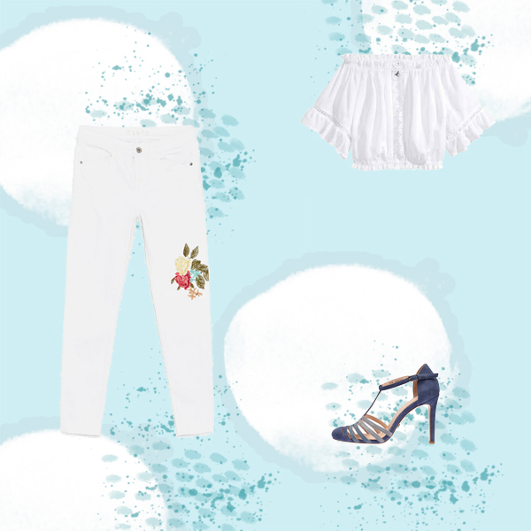 Çiçek Motifli Denim Pantolon Kombinleri
