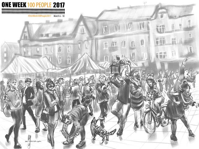 Möllevången, Malmö sketch by Artmagenta