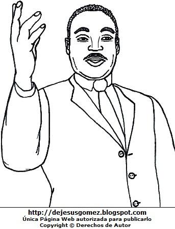 Imagen de Martín Luther King para colorear pintar imprimir. Dibujo de Martín Luther King de Jesus Gómez
