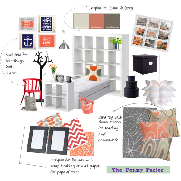 Coral And Gray Bedroom: The Penny Parlor: Coral And Gray Teen Bedroom