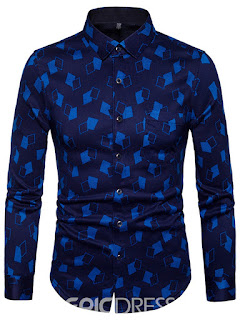 Ericdress Geometric Print Lapel Men's Shirt
