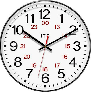 Clock with 12-hour and 24-hour display